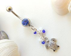Turtle Belly Ring, Nautical/ Beach Belly Button Ring, Navel Piercing, Crystal Belly Button Ring, Turtle Jewelry, Summer Jewelry. 41