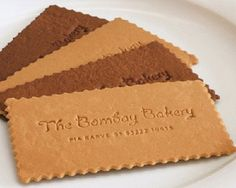 Bombay Bakery edible tea cookie business cards