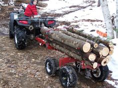 built an atv log/firewood trailer in Forestry and Logging Log Trailer, Trailer Diy, Utility Trailer, Quad Trailer, Atv Trailers, Dump Trailers, Little Trailer, Dirt Bike Girl, New Holland Tractor