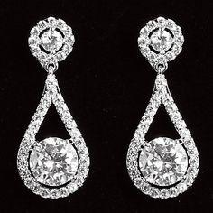Elegant+Platinum+Plated+With+Zircon+Drop+Shaped+Women's+Drop+Earrings+–+EUR+€+11.21