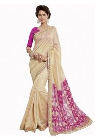 Lovely Beige Color Chiffon Brasso Saree by Vishal Prints