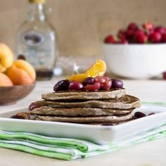 Vegan Coconut Pancakes with roasted fruit topping. Healthy and gluten free optional