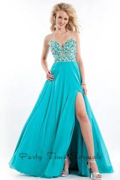 Rachel Allan 6558 Teal Slit Leg Lace Prom Dresses 2015 Sale