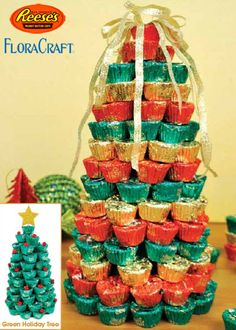 Reese's® Holiday Trees, great idea to make for a gift for someone who likes chocolates, or for a neighbor, or someone in the nursing home! by nadine Christmas Goodies, Christmas Candy, Christmas Treats, Christmas Holidays, Christmas Decorations, Thanksgiving Treats, Christmas Stocking, Christmas Stuff, Xmas Gifts