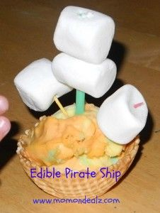 Edible Ice Cream Pirate Ships for Henry's Birthday :)