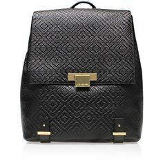 Woven Charlie Backpack Kurt Geiger London Black ($360) ❤ liked on Polyvore featuring bags, backpacks, black, backpack bag, black zipper bag, woven bag, knapsack bags and summer bags