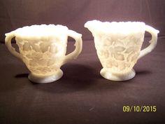 "Westmoreland Glass Co. creamer and sugar, Line# 1928, ""Maple Leaf"" pattern"
