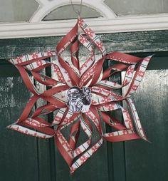 Papierstern Tür aufhängen Bastel Ideen