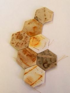 Julia Wright Jewellery: Rusty circles - I like the patchwork shapes used here. Textiles Techniques, Art Techniques, Shibori, Tea Stained Paper, Textiles Sketchbook, Tea Bag Art, Nature Artists, Fabric Journals, Sewing Art
