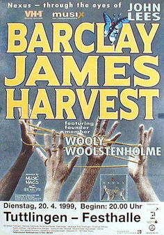 Barclay James Harvest '99 Rock Posters, Music Posters, Concert Posters, Pop Rock, Rock And Roll, Affiche Jimi Hendrix, Psychedelic Bands, Gig Poster, Call Art