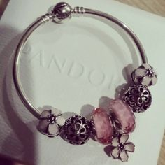 PANDORA Bangle Showcasing Cherry Blossom Clips n Dangle with Faceted Pink Murano.