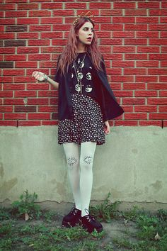 Thrifted, Diy'd Skirt, Ebay Creepers, Diy By Me Eye Tights, Forever 21 Moons Shirt