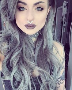 Ryan Ashley - Grey hair, rock look Beauty Makeup, Hair Makeup, Hair Beauty, Alien Makeup, Witch Makeup, Eyeshadow Makeup, Ryan Ashley Malarkey, Clip In Extensions, Grey Hair