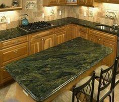 Kitchen: Green Emerald Granite Countertop Ideas For Kitchen And Dining Table Design: Blacksplash