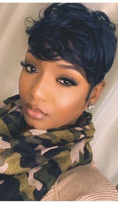 short hairstyle women african american pixie Cute short hairstyles wigs for black women lace front wigs human hair wigs african american wigs Cute Hairstyles For Short Hair, Short Hair Cuts, Curly Hair Styles, Natural Hair Styles, Relaxed Hairstyles, Black Women Short Hairstyles, Short Quick Weave Hairstyles, Pixie Cuts, Short Pixie