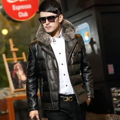 Jackets & Coats Analytical Winter Mens Duck Down Jacket Leather Overcoat Male Fashion Warm Wear Real Rabbit Fur Collar Slim Thickening Snow Jackets Man