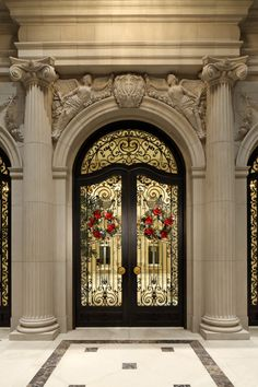 Entry door detail, Beaux Arts mansion in Beverly Hills
