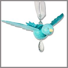 Sea Glass Blue Hanging Bird baby Mobile by fischtaledesigns