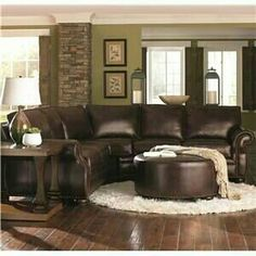 Leather sofa sectional n ottoman round rug