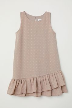 H&M Flounced Dress - Taupe/pink dotted - KidsSleeveless dress in woven fabric with a printed pattern. Flounce at hem, doubled at front.Girls Dresses and Skirts - A wide selectionWelcome to H&M, we offer fashion and quality clothing at the best price Kids Dress Wear, Little Girl Dresses, Girls Dresses, Baby Dresses, Dress Girl, Dot Dress, Kids Wear, Baby Dress Design, Baby Girl Dress Patterns