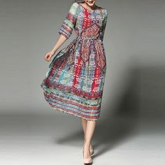 Cheap slim dress, Buy Quality dress fashion directly from China dress quality Suppliers: GORB 2017 Spring Autumn Newest Europe Hot Sales Fashion Women Slim Dresses Good Quality Printing Chiffon Long Hem Dress Women's Fashion Dresses, Casual Dresses, Chiffon Dress Long, Affordable Dresses, Vacation Dresses, Vintage Prints, Half Sleeves, Dress Brands, Retro