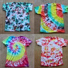 Tulip Tie Dye T-shirt Party! Tie Dye your Summer! Tie Dye is the first signs of Summertime. The bright colors and hippy look are perfect for Summer b… Tie Die Shirts, Diy Tie Dye Shirts, Dye T Shirt, Tee Shirt, Diy Tie Dye Tank Top, Tie Dye Party, Party Party, Party Ideas, Craft Party