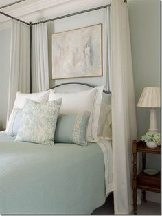 Martha Stewart sherwin williams blue Hubbard Ruth Burts Interiors: Soothing Paint Colors for the Bedroom Soothing Paint Colors, Bedroom Paint Colors, Relaxing Colors, Calming, Home Bedroom, Master Bedroom, Bedroom Retreat, Greek Bedroom, Calm Bedroom