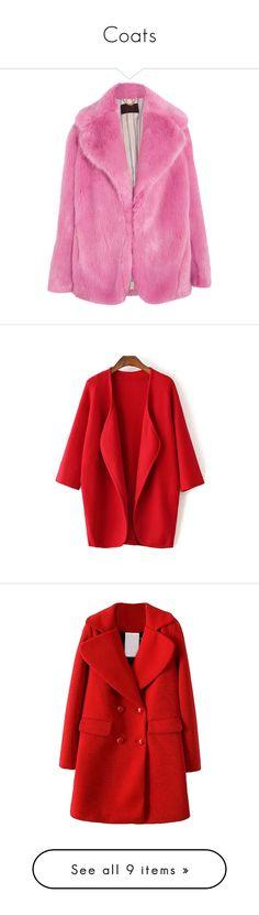 """Coats"" by kyuba ❤ liked on Polyvore featuring outerwear, coats, coats & jackets, fake fur coats, faux fur coat, j crew coats, pink coat, fuzzy coat, tops and cardigans"