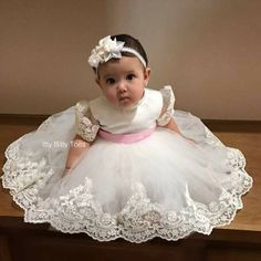 Pearl Beaded Alencon Lace Gown With Matc - Diy Crafts - maallure Infant Baptism Dresses, Baby Christening Dress, Baby Pageant Dresses, Baby Girl Party Dresses, Dresses Kids Girl, Baptism Gown, Girls, Baby Birthday Dress, First Birthday Dresses