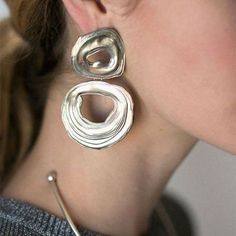LEIGH MILLER - white bronze double whirlpool earrings