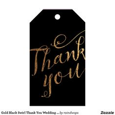 Gold Black Swirl Thank You Wedding Favor Gift Tag Pack Of Gift Tags