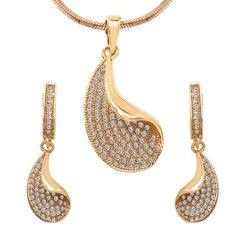 CZ Studded Brass Pendant, Earrings Set with Chain #photoshop #jewelryforsale #love #luxury #pokemongoupdates