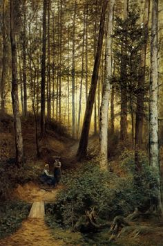 Cesta lesem / The path through the woods, Mařák Julius. Czech - Via: Galerie Marold Wood Path, Amber Tree, Hidden Garden, European Paintings, Landscape Paintings, Landscapes, Beautiful Paintings, Faeries, Oil On Canvas