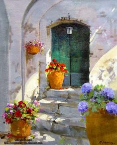 Biography: Maria Serafina was born in 1955 in Collesano (Palermo) and is a fine arts graduate. Capri has always had a strong inf. Nature Paintings, Beautiful Paintings, Landscape Paintings, Watercolor Landscape, Watercolor Flowers, Watercolor Paintings, Watercolors, Acrylic Paintings, Oil Paintings