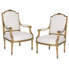 Pair of 19th Century French Armchairs | From a unique collection of antique and modern armchairs at https://www.1stdibs.com/furniture/seating/armchairs/