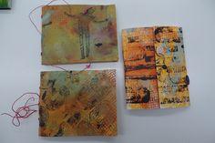 Resultaat van een cursist workshop Gelliplate en 3 x cahierbinding in Atelier Velijn