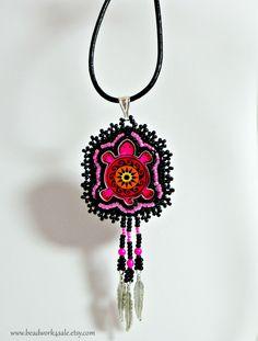 Neon Pink Turtle Pendant ~ Handmade Beaded Necklace ~ Native American Inspired Beadwork by Beadwork4Sale on Etsy