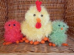 Tinsel yellow hen and sorbet and lime coloured chicks are ready to ship by Marionsknittedtoys on Etsy