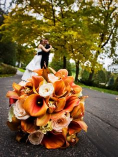 Wedding bouquet. Orange rust yellow autumn