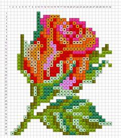 Rose flower perler bead pattern
