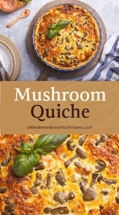 Looking for new breakfast ideas? Try something special and make this easy breakfast quiche recipe with a yummy flaky crust, made even better with the many health benefits of mushrooms. This is also a great healthy dish to try if your are looking for brunch party menu ideas. | Discover more healthy mushroom recipes at ultimatemedicinalmushrooms.com #cookingmushrooms #mushroomrecipes