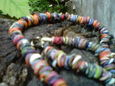 Colorful Necklace hand rolled and twisted beads by greenchicliz, $25.00