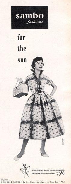 Sambo Fashions for the sun. #vintage #fashion #shoes #1950s #dresses