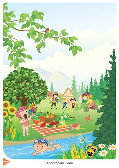 Ilustrații cu cele patru anotimpuri Easy Drawings For Kids, Drawing For Kids, Cute Drawings, Picture Story For Kids, Picture Composition, Cartoon Characters, Fictional Characters, School Themes, Stories For Kids