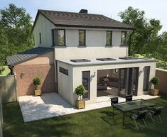 Orangery with flat roof sunken down behind full height walls, with almost flat roof flights