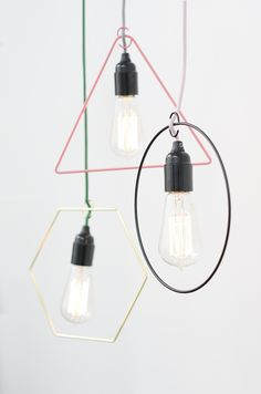 "Style your naked light bulbs with geometric shapes! Lamp ""shade"" METRIC from Lagerhaus, 49 SEK"