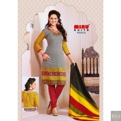 Cotton printed full unstitched suit₹840