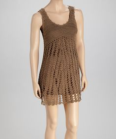 Take a look at this Khaki Crocheted Sleeveless Dress by SR Fashions on #zulily today!