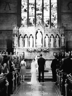 black and white church wedding photos, white ribbon aisle decor #2014 #home decor #ideas #Easter #spring wedding #Craft #food www.dreamyweddingideas.com