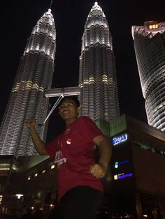 """First time go abroad, went to Malaysia and took some picture around KLCC. That person on the photo is me, with KL famous icon """"Twin Tower of Petronas"""" as a background."""